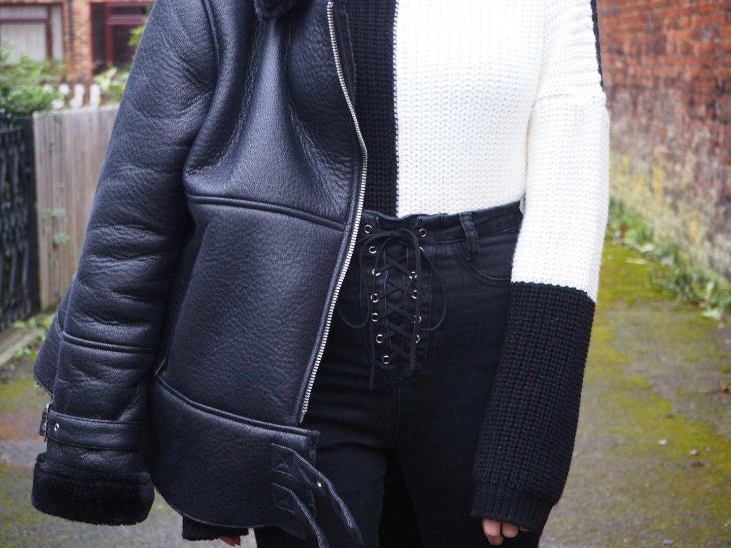 confidence: monochrome outfit close up