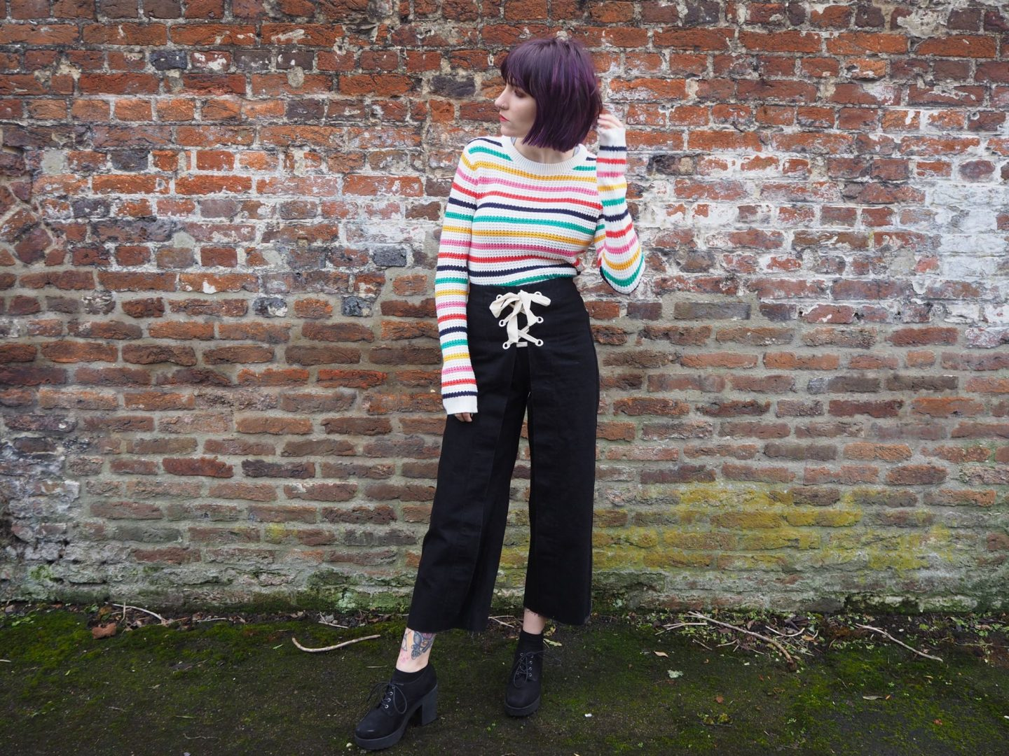 Defining my style- full outfit, striped jumper, lace up jeans, heeled boots