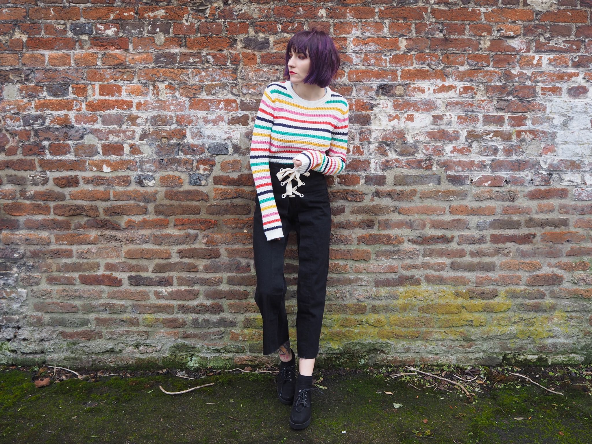 Defining my style- full outfit, striped jumper, lace up jeans