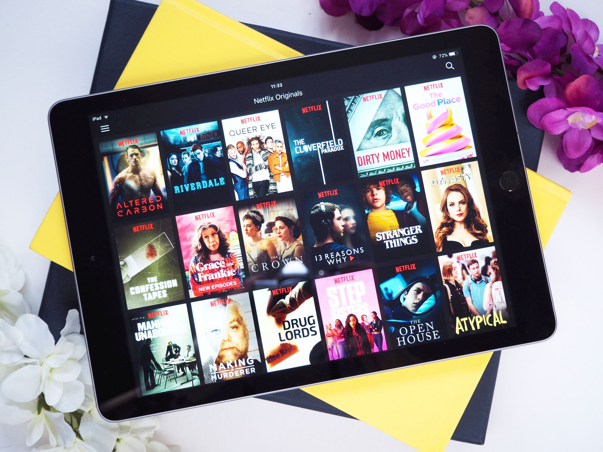 Netflix recommendations - tablet & books flatlay