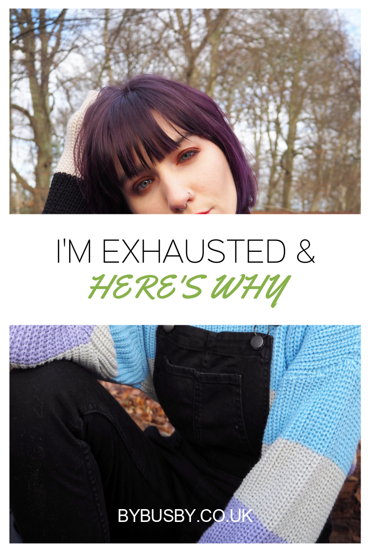 I'm exhausted Pinterest graphic