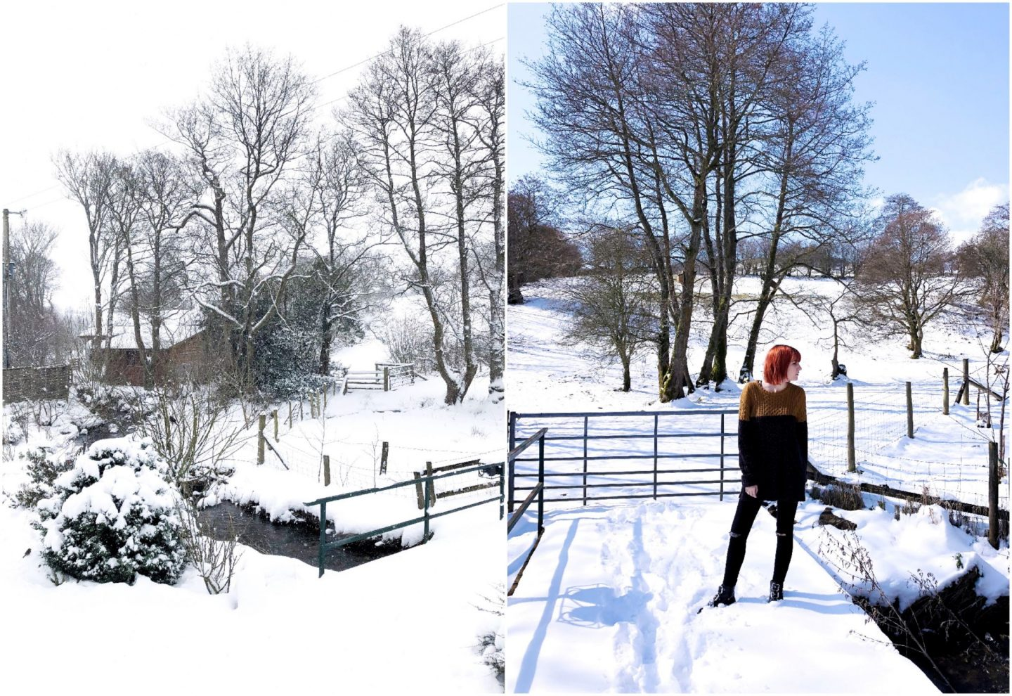 The barn at Glanoer - snow collage