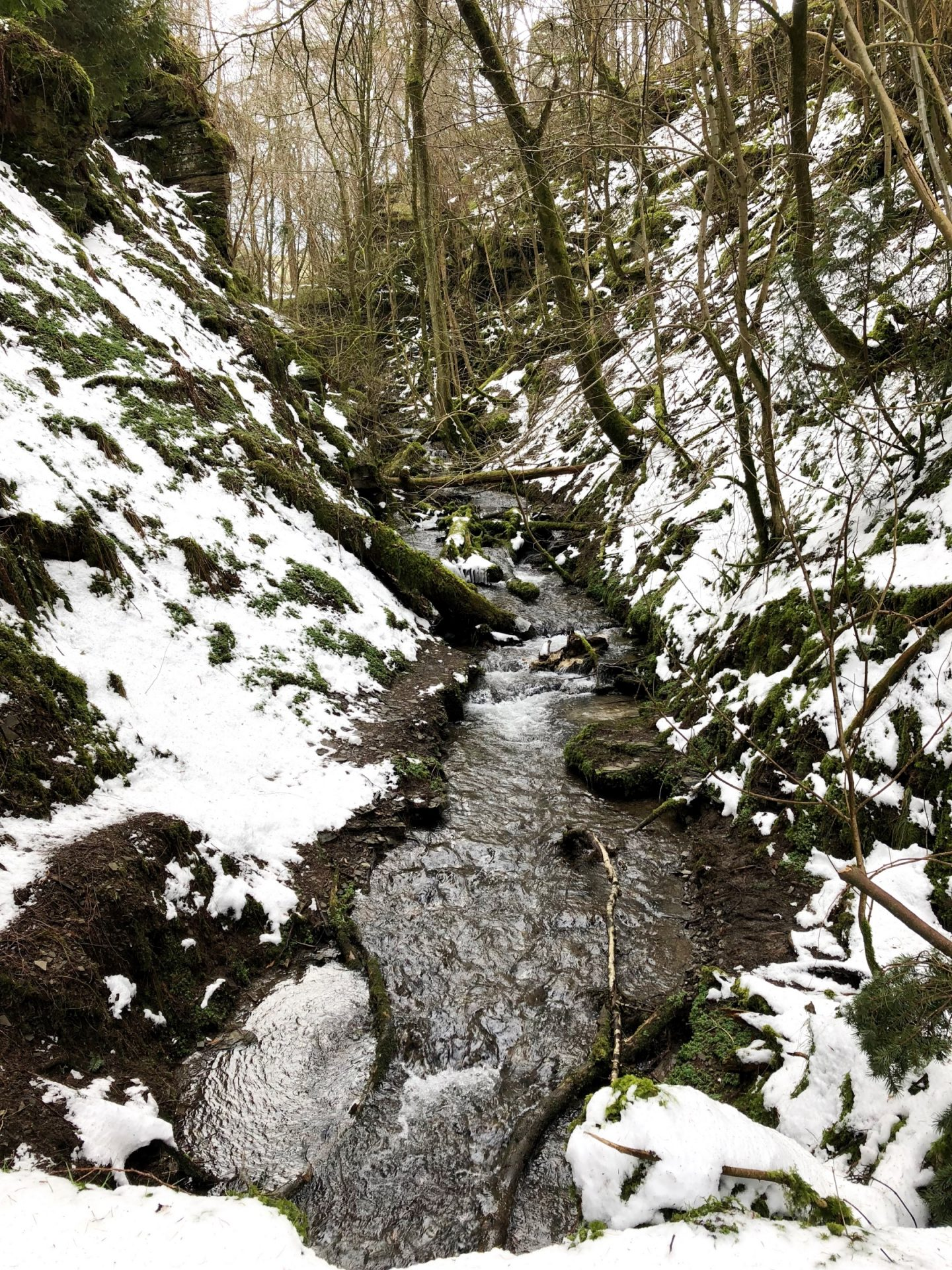 A day at water break its neck - snow surrounding waterfall view