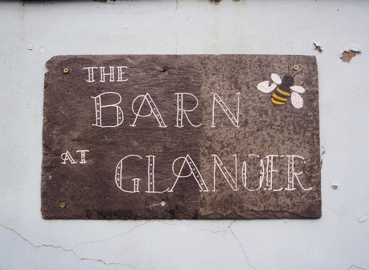 The barn at Glanoer - house sign