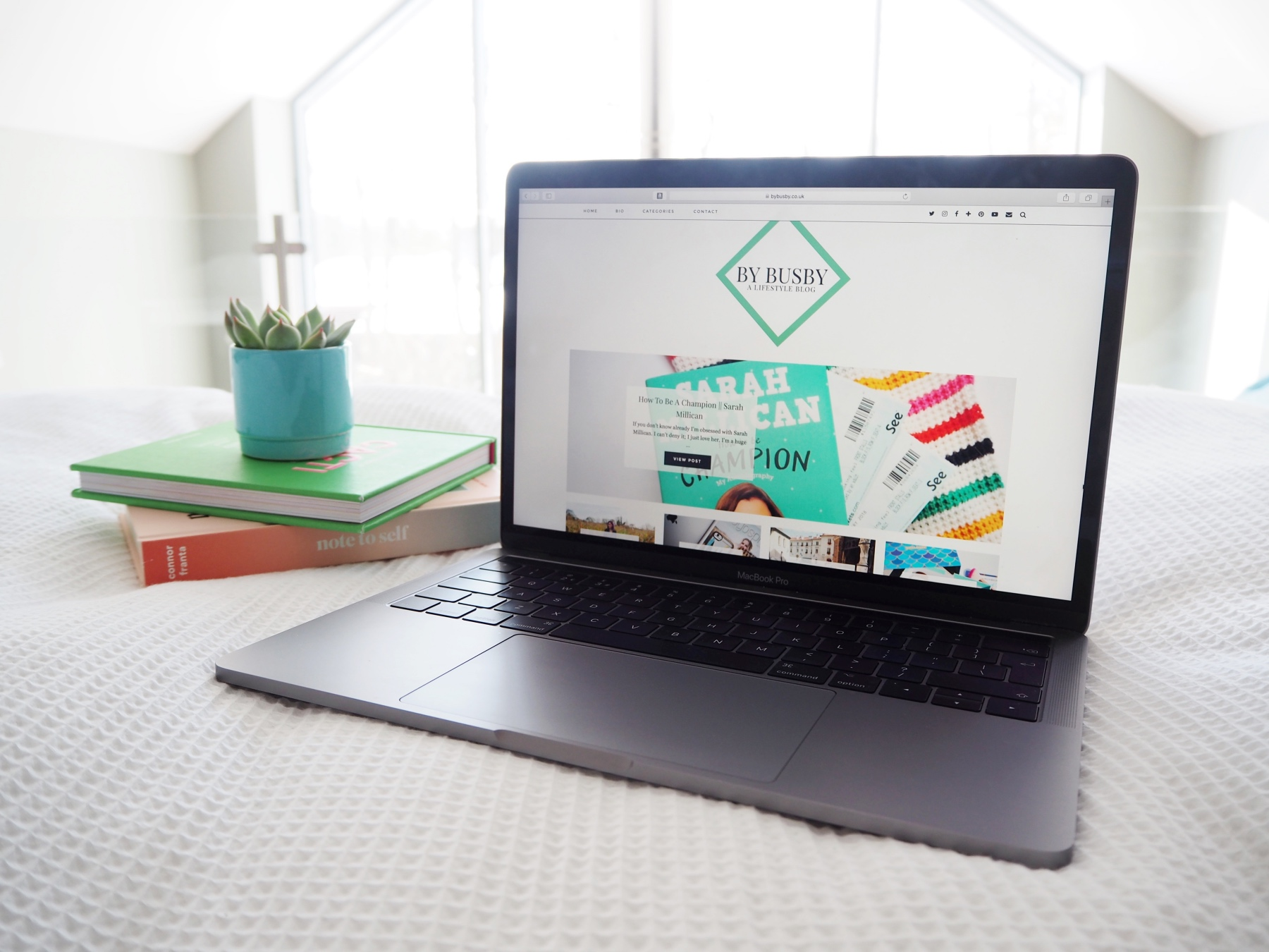 From blogger to Wordpress - laptop & cacti flatlay