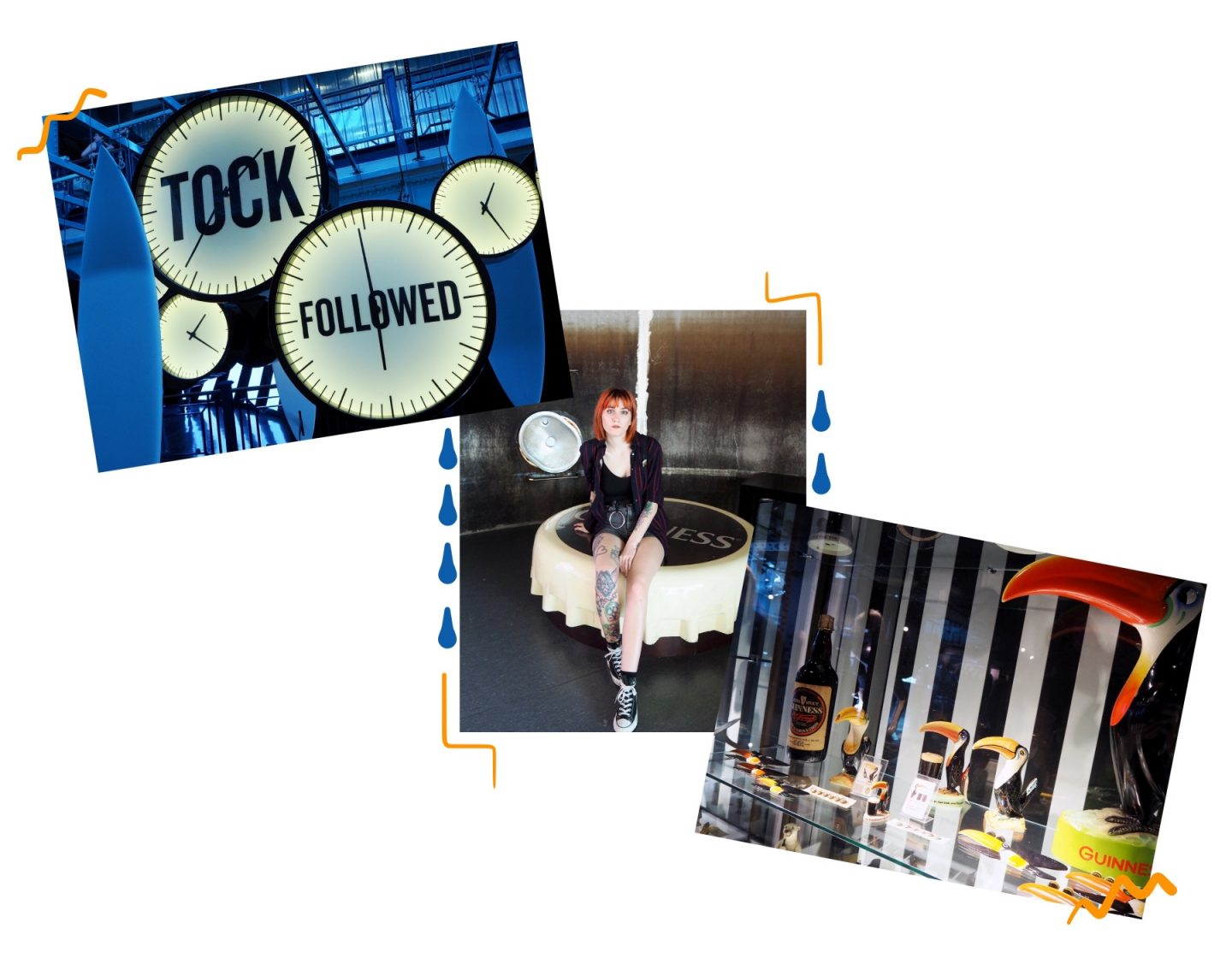 Dublin diaries; Exploring & Guinness tour - Guinness store house clocks, selfie & toucans collage