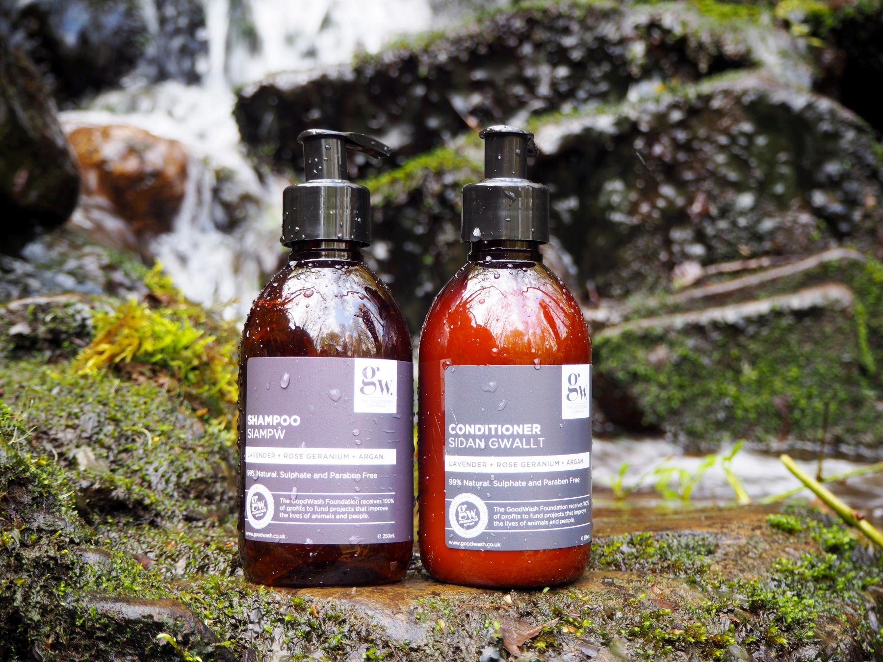 Good wash tried & tested - shampoo & conditioner in front of waterfall