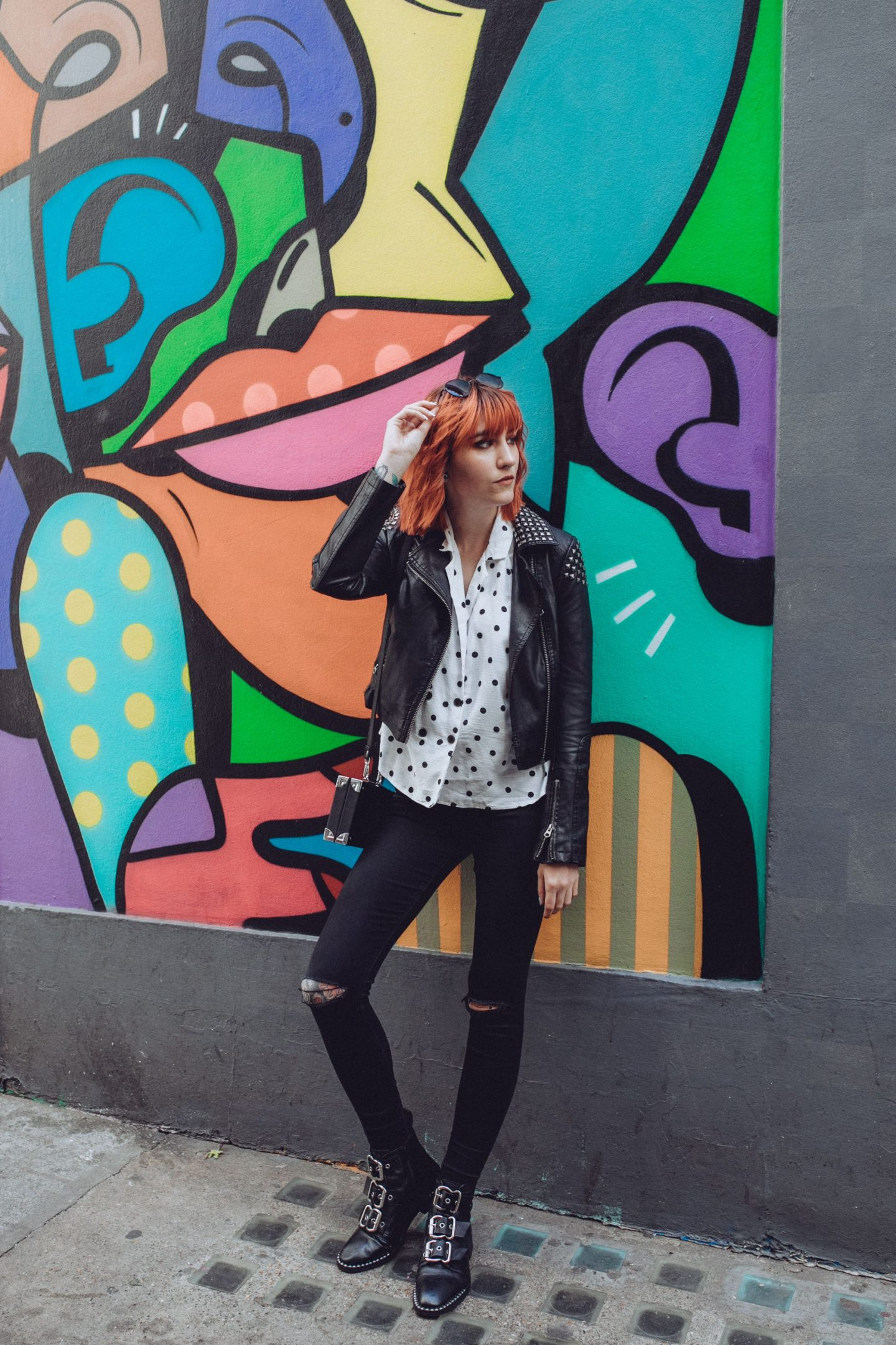 5 reasons why I follow you blog- outfit; polka dot shirt, jeans, jacket & boots