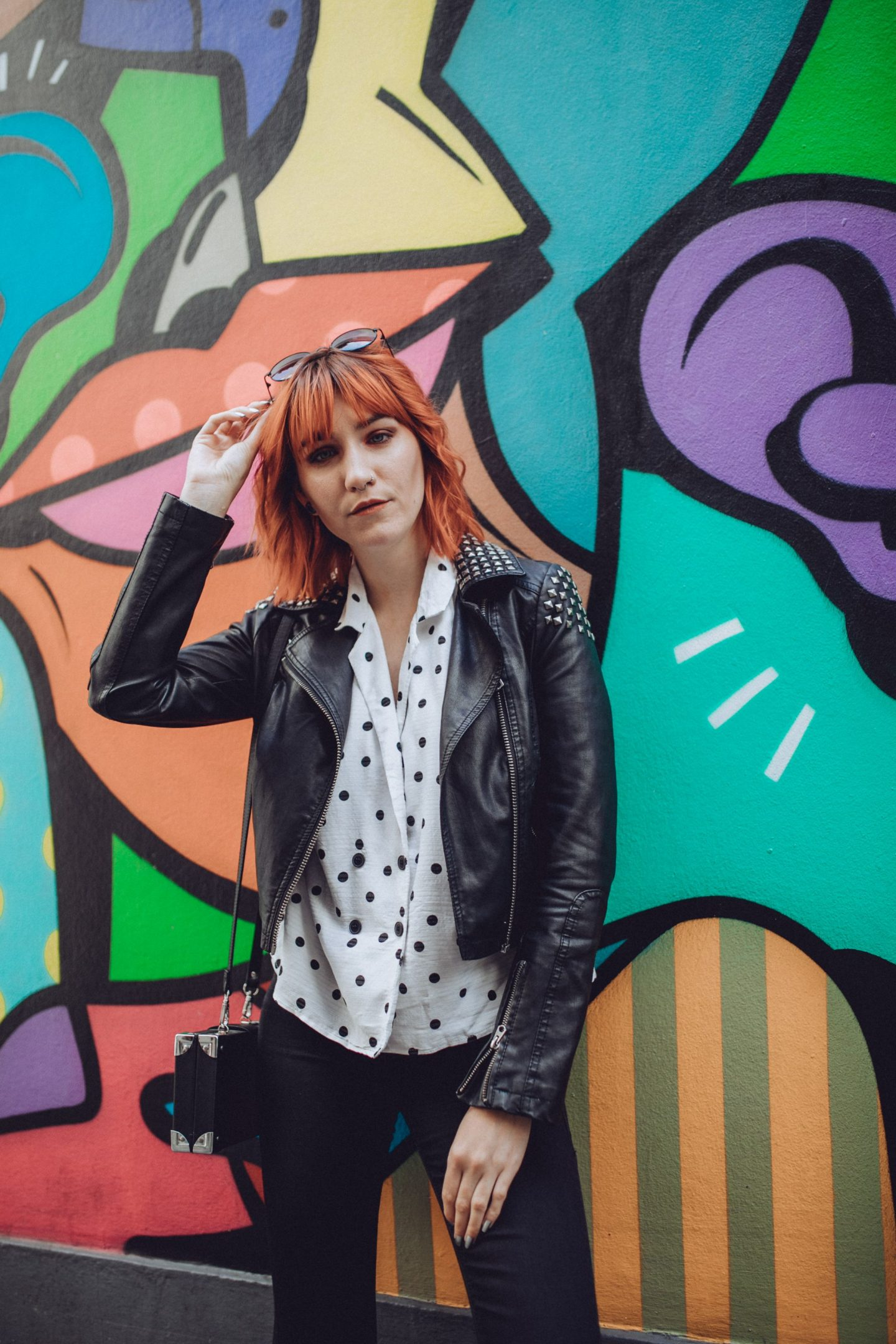 5 reasons why I follow you blog - outfit; polka dot shirt, jeans, jacket & boots