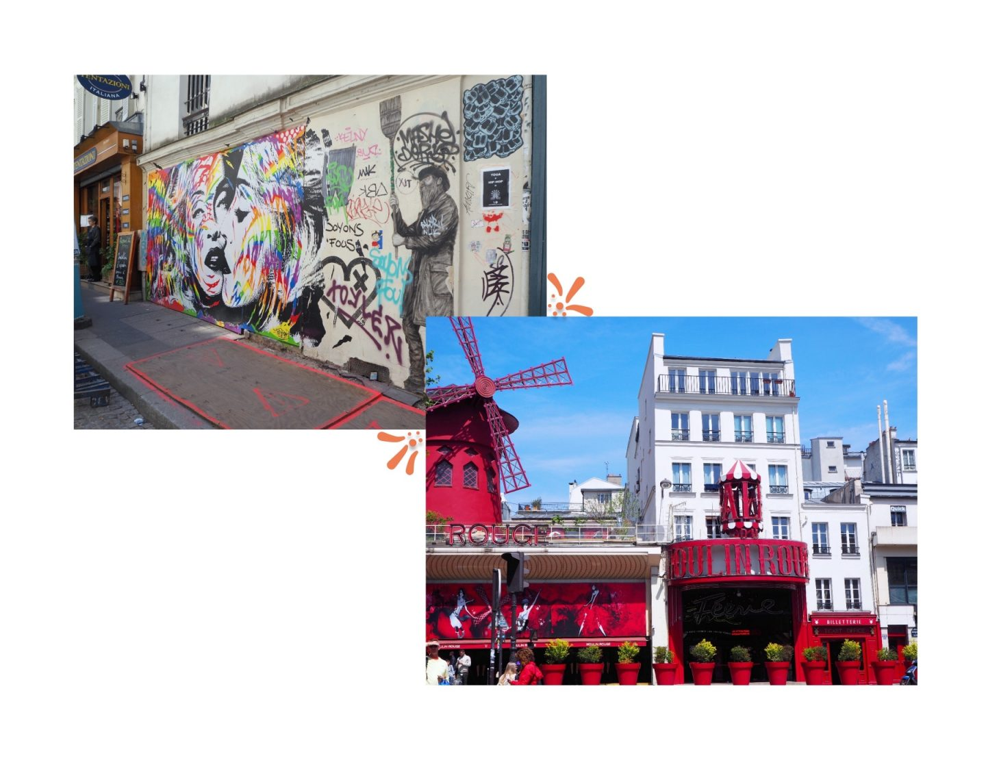 Exploring Paris; Montmartre & The Louvre - graffiti & mulin rouge collage