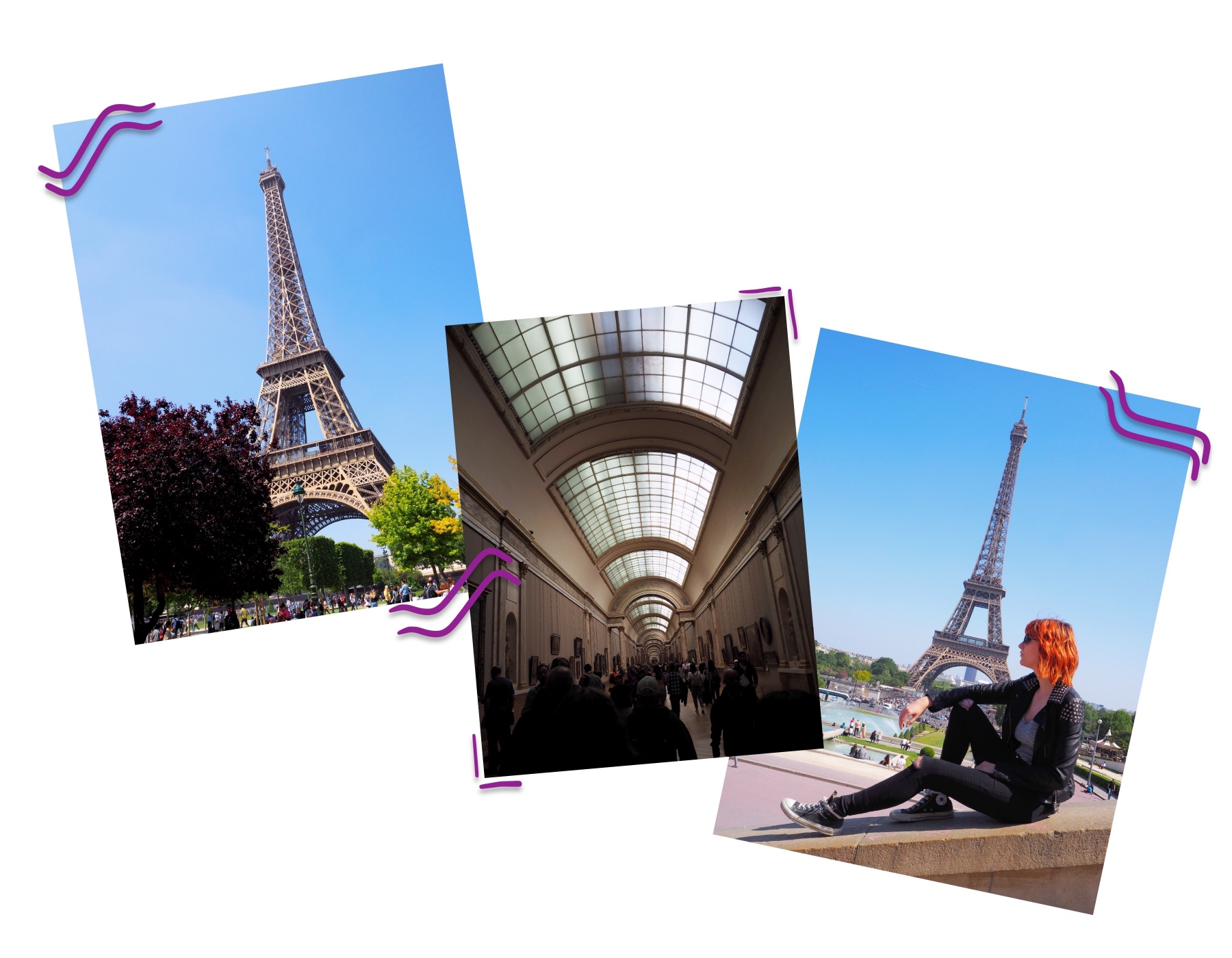 Exploring Paris; Montmartre & The Louvre - Eiffel Tower collage