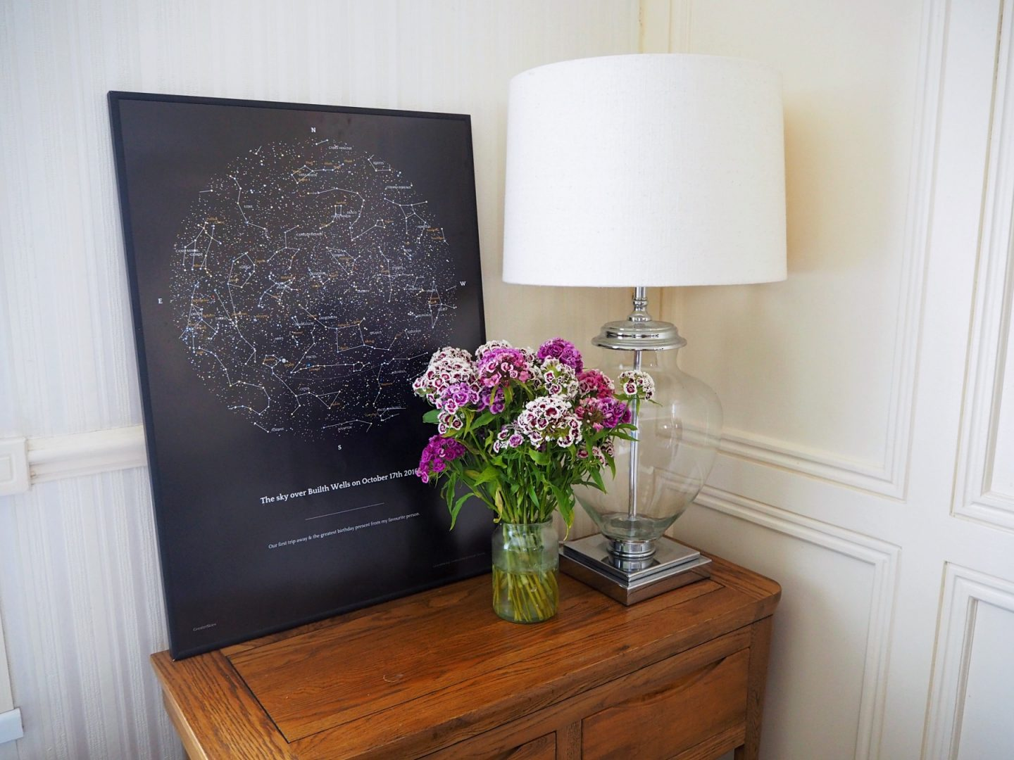 Capturing Memories With Greater Skies - print, flowers & lamp