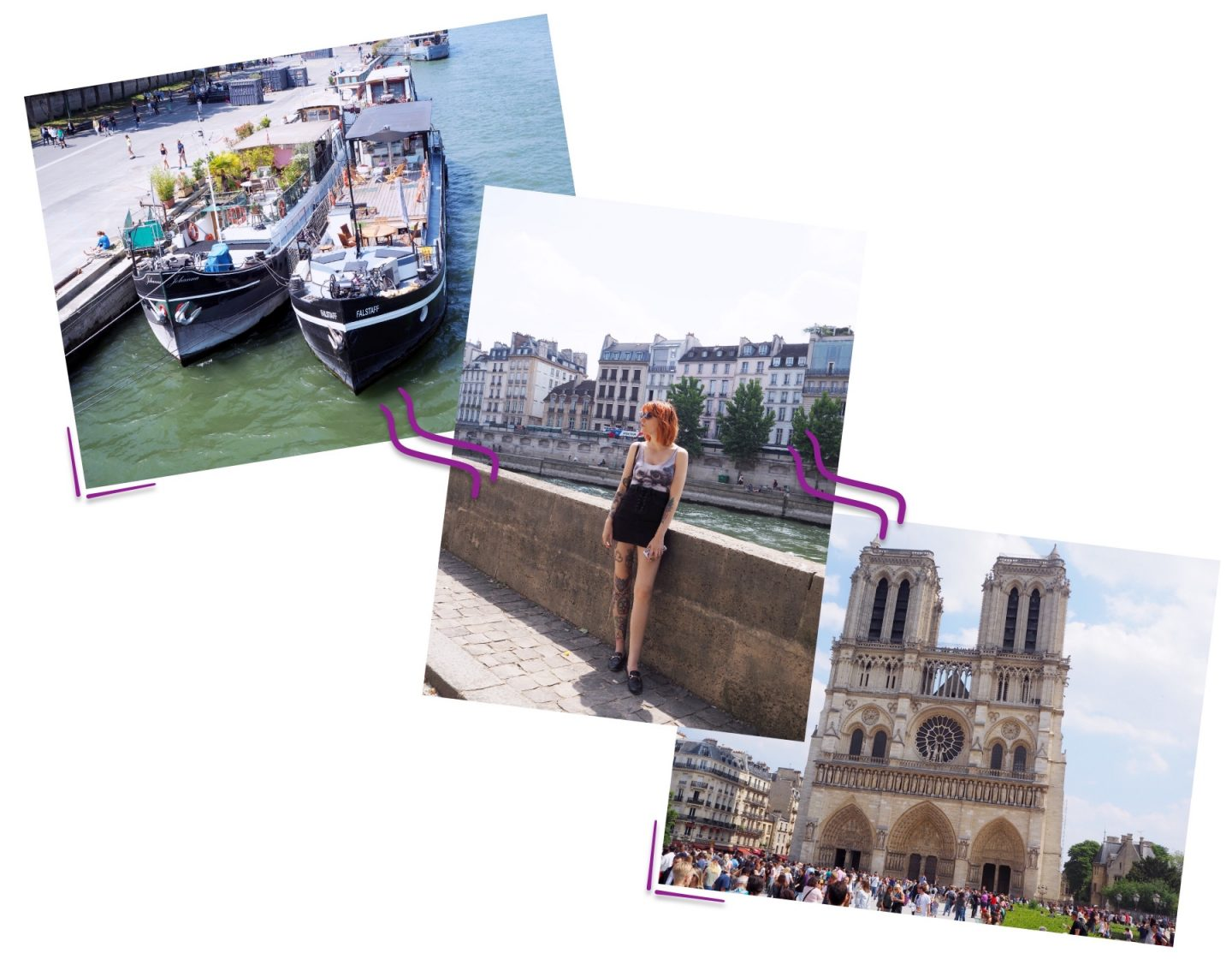 Exploring Paris; Tourist Hotspots & Macaroons Shopping - boat, outfit & nitre-dame collage