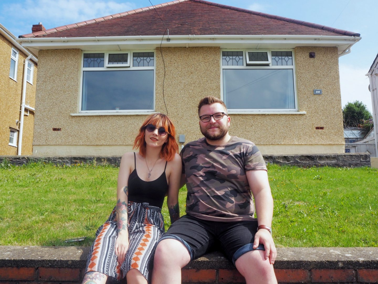 we've moved - Jacob & I in front of house