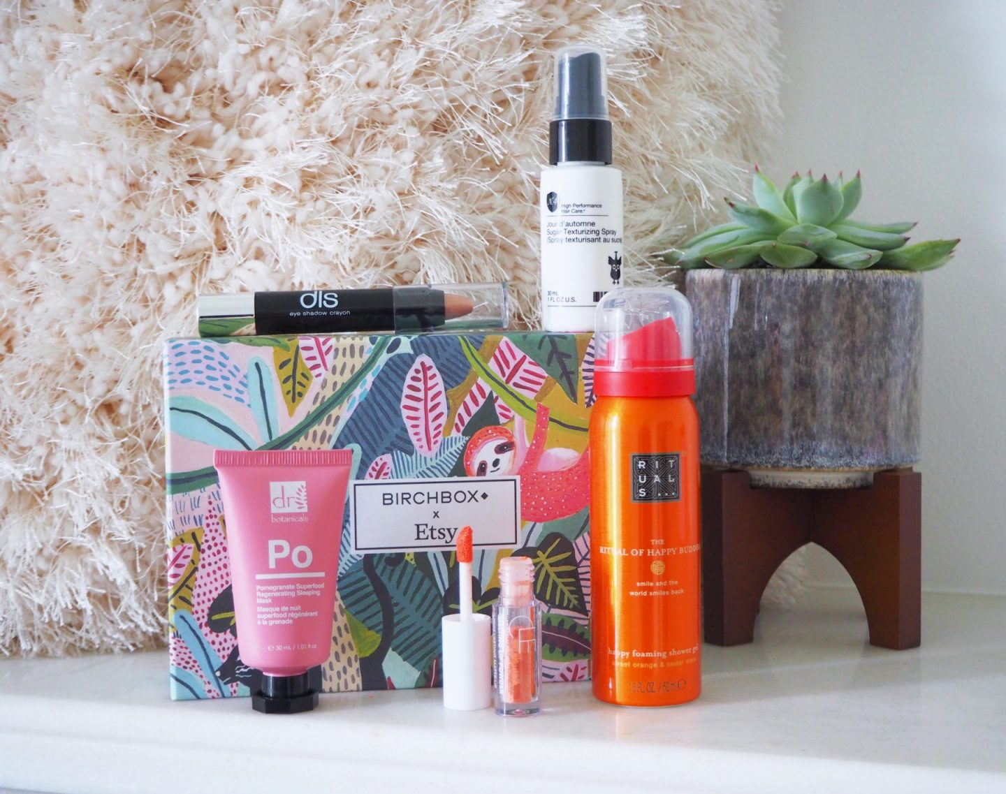 Back to the Birchbox - full product shots; sugar texturising spray, eye shadow crayon, dr botanicals over night mask, melting lip power & rituals shower gel