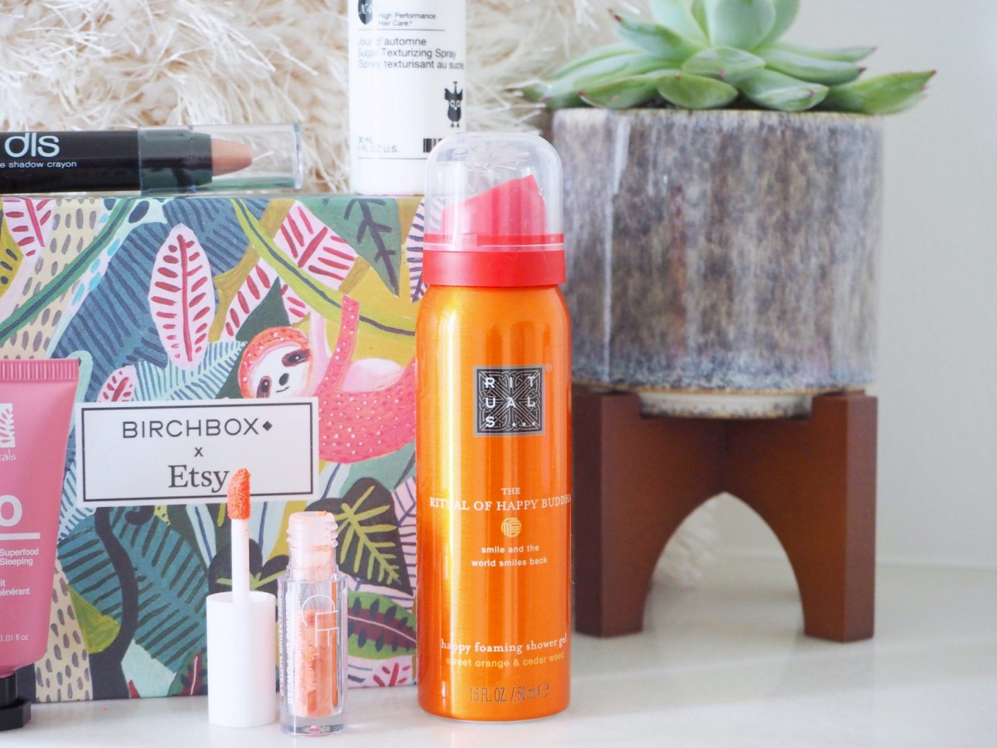 Back to the Birchbox - close up off rituals shower gel & melting lip powder