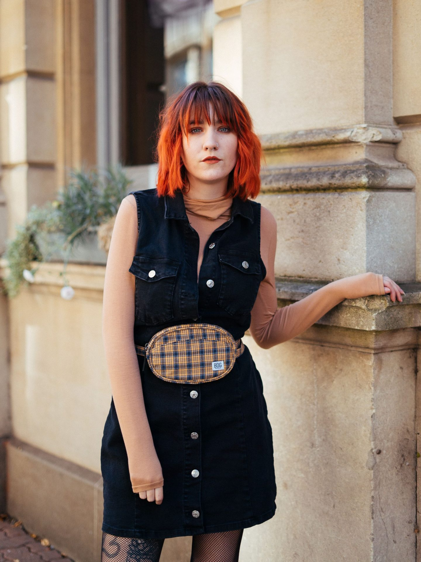Wardrobe Staples: Denim || Slow Styling Series - denim mini dress, nude top & tartan belt bag