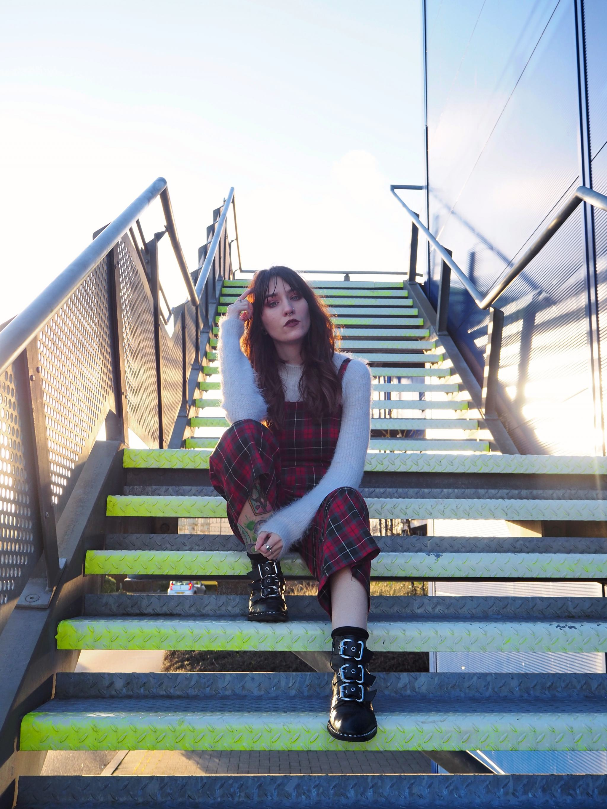 Is 2019 The Year Of The Blog? - full outfit; tartan jumpsuit, fluffy jumper & buckle boots