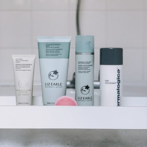 Breastfeeding Skincare Routine - liz Earle deep cleansing mask, cleanse & polish, dermalogicia daily microfoliant & foreo luna play