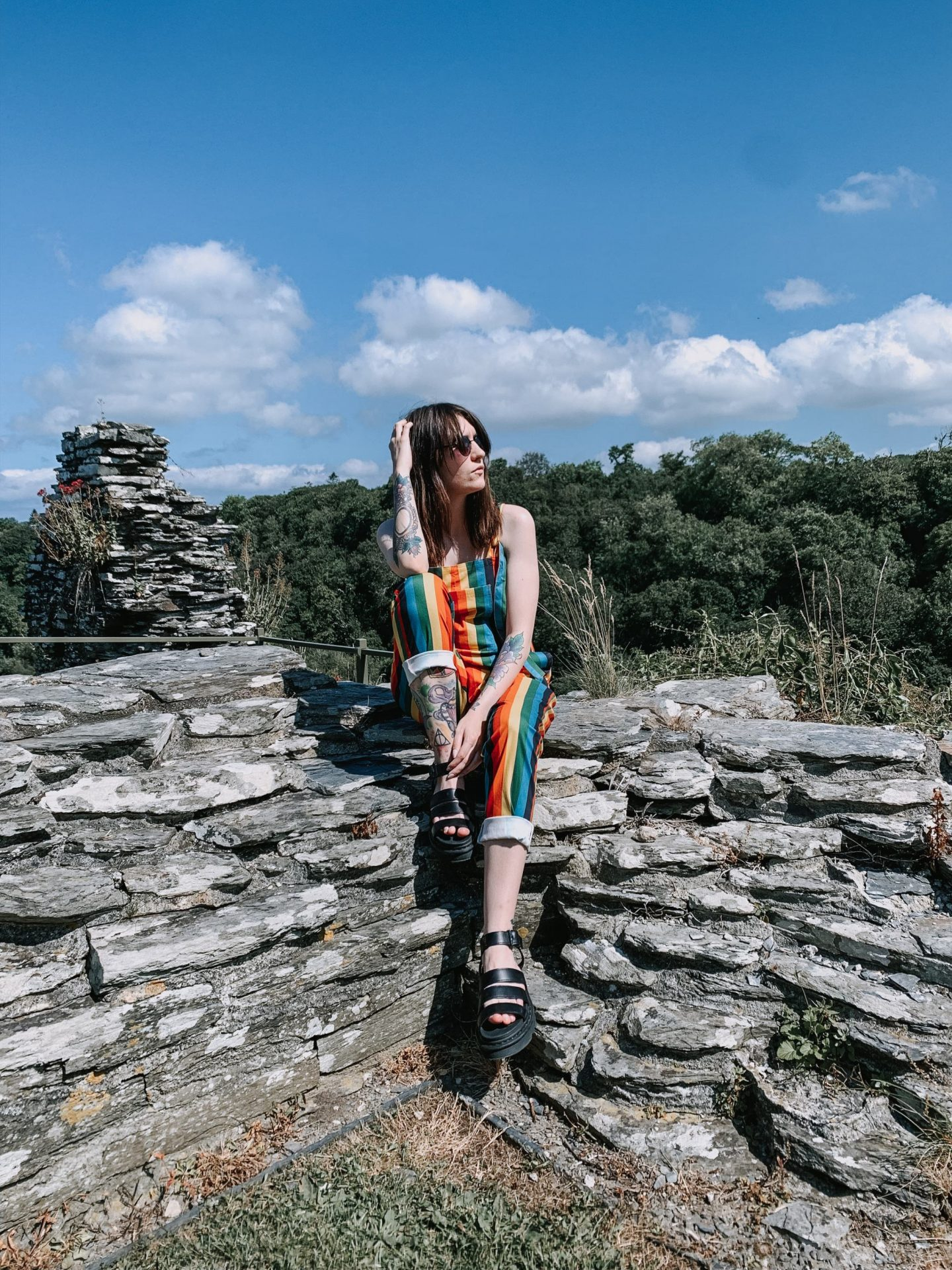 outfit- Lucy and yak rainbow dungarees & dr marten sandals