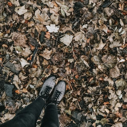 not being okay - standing in leaves