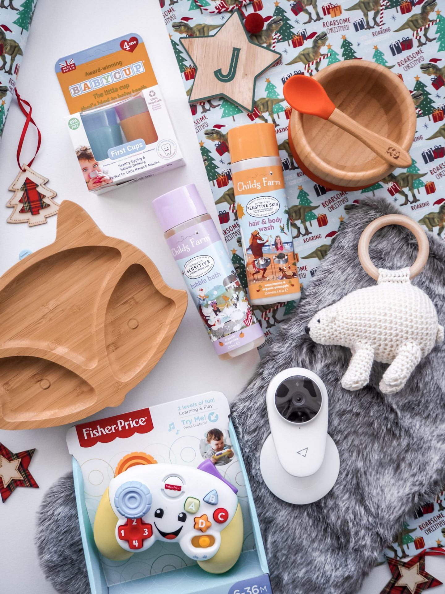 Functional First Christmas Gifts - bamboo plate, child's farm products, baby cup, polar bear rattle, camera, fisher price toy