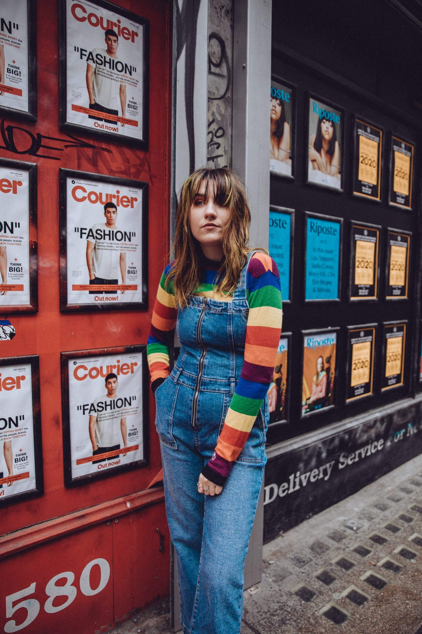 Looking Back On 2019 - dungaree & rainbow knit outfit