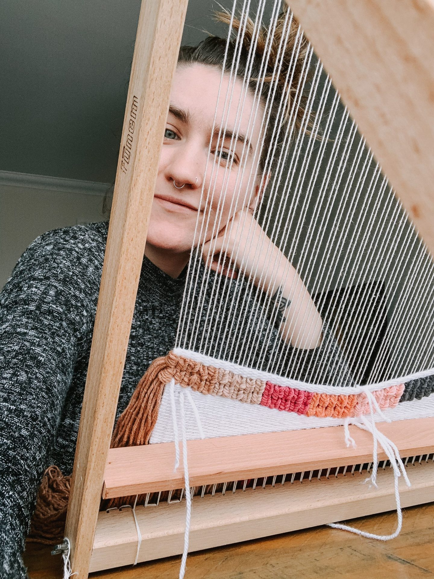 me with a weaving loom