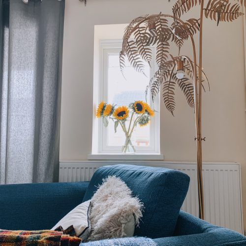good things to come out of lockdown - view of my sofa & sunflowers in the window